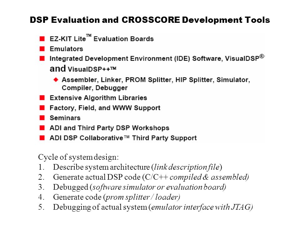 DSP Evaluation and CROSSCORE Development Tools
