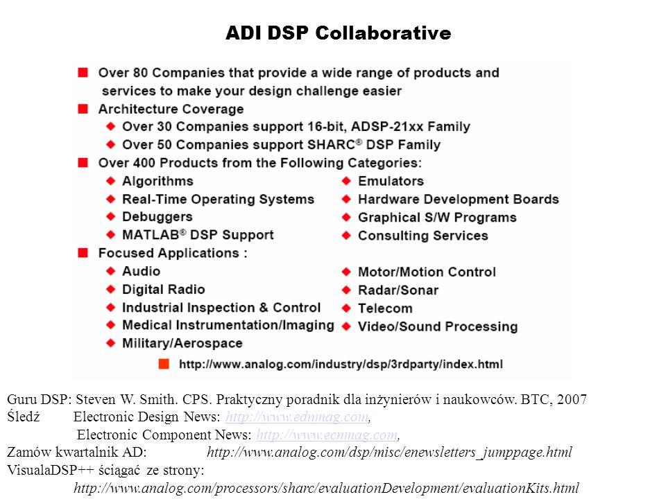 ADI DSP Collaborative Guru DSP: Steven W. Smith. CPS. Praktyczny poradnik dla inżynierów i naukowców. BTC, 2007.