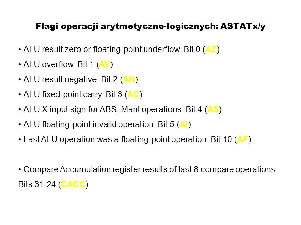 Flagi operacji arytmetyczno-logicznych: ASTATx/y