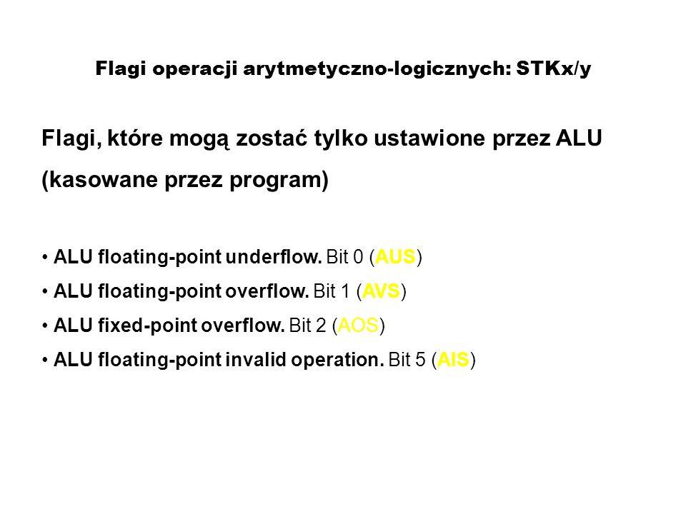 Flagi operacji arytmetyczno-logicznych: STKx/y