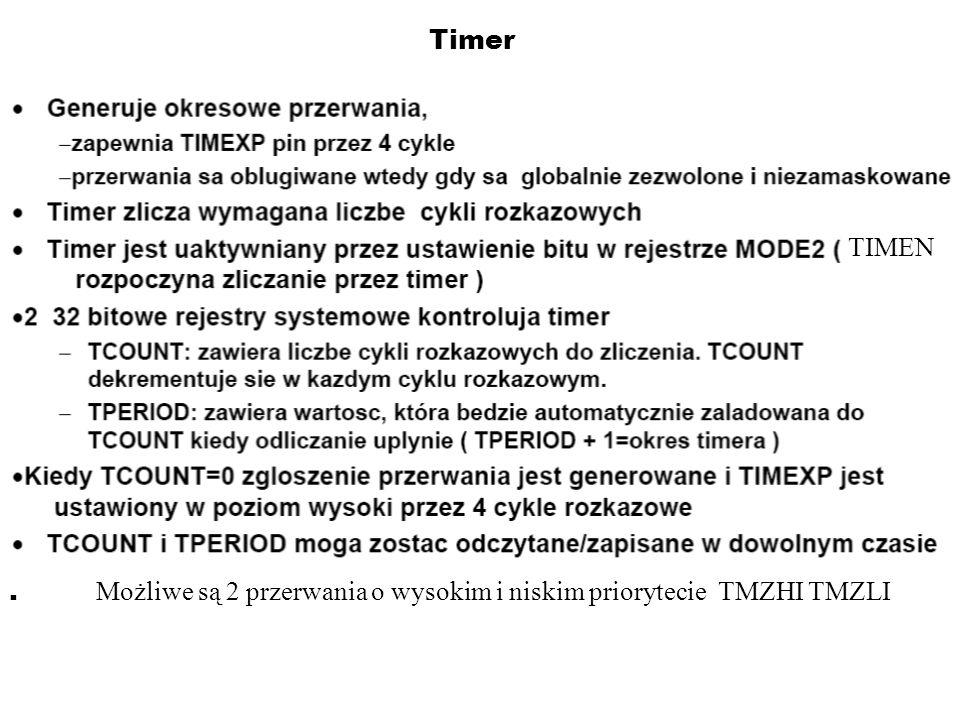 Timer TIMEN . Możliwe są 2 przerwania o wysokim i niskim priorytecie TMZHI TMZLI