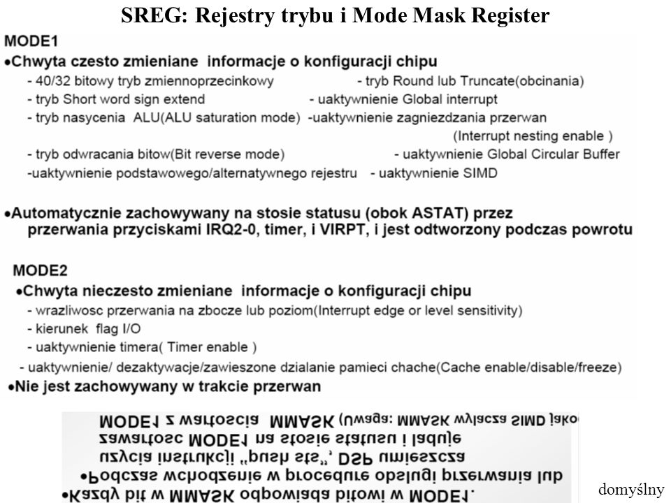 SREG: Rejestry trybu i Mode Mask Register