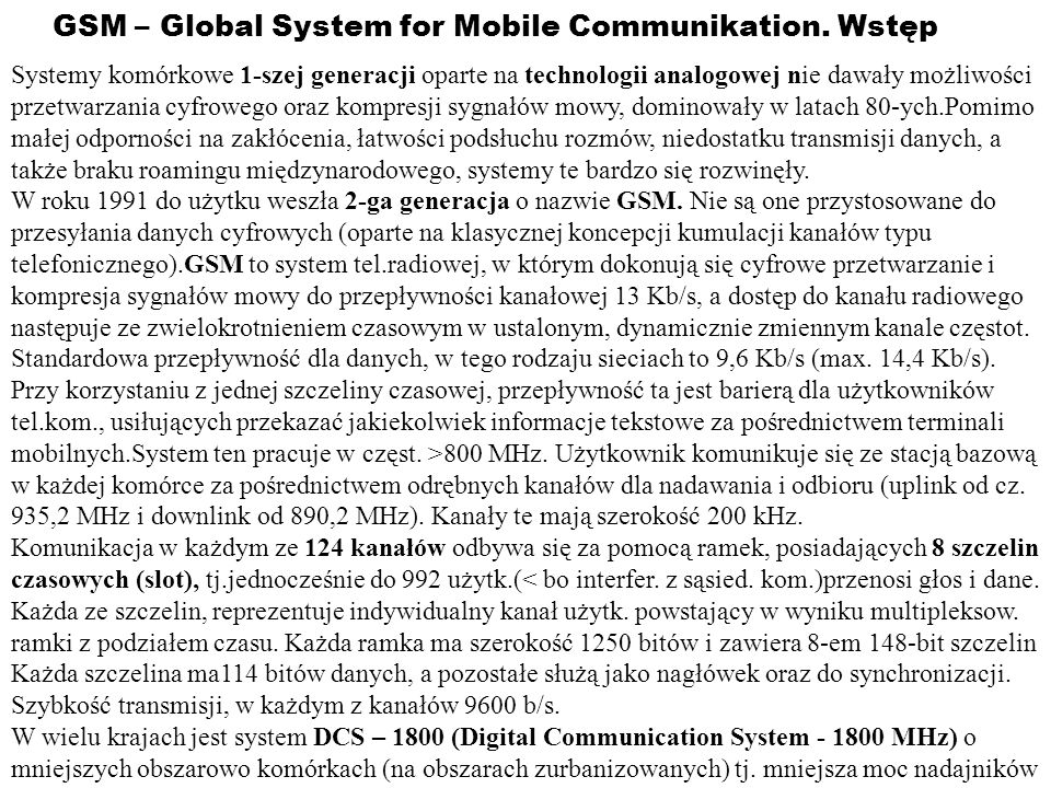 GSM – Global System for Mobile Communikation. Wstęp