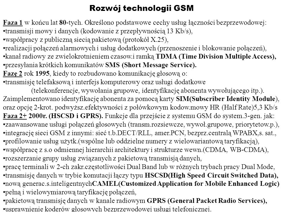 Rozwój technologii GSM