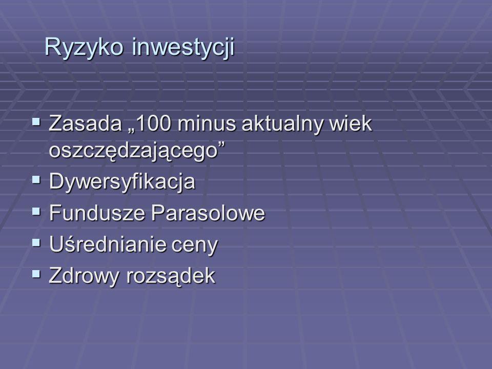 """Ryzyko inwestycji Zasada """"100 minus aktualny wiek oszczędzającego"""