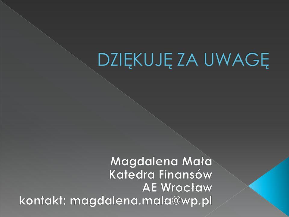 Magdalena Mała Katedra Finansów AE Wrocław kontakt: magdalena.mala@wp.pl