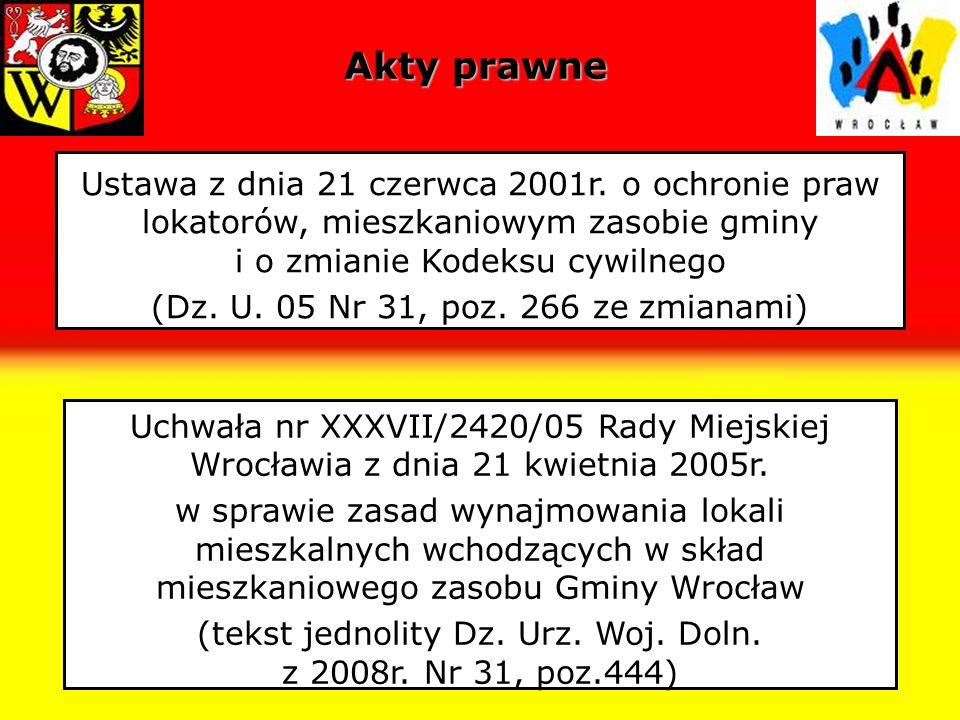 Akty prawneUstawa z dnia 21 czerwca 2001r. o ochronie praw lokatorów, mieszkaniowym zasobie gminy i o zmianie Kodeksu cywilnego.
