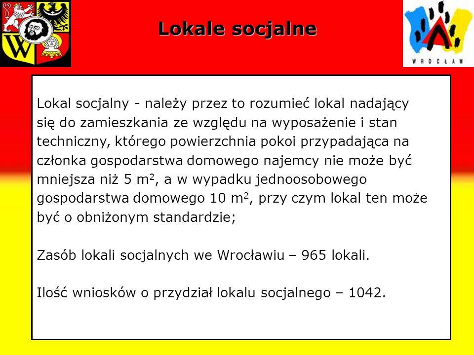Lokale socjalneLokal socjalny - należy przez to rozumieć lokal nadający. się do zamieszkania ze względu na wyposażenie i stan.