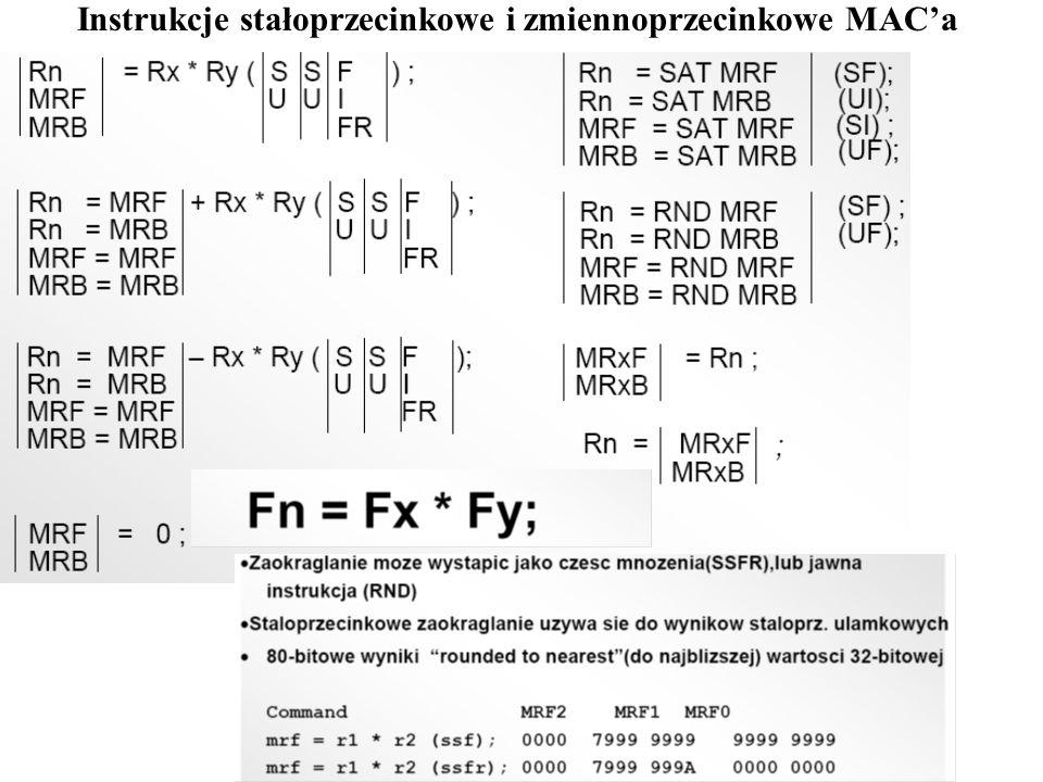 Instrukcje stałoprzecinkowe i zmiennoprzecinkowe MAC'a