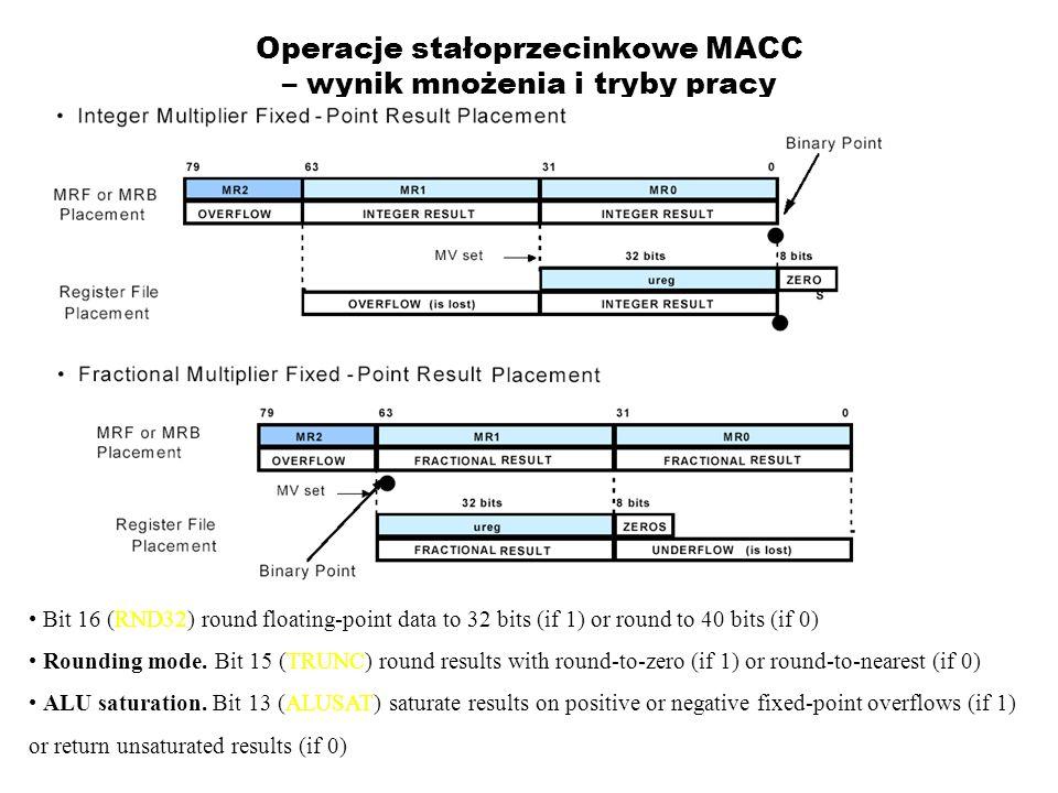 Operacje stałoprzecinkowe MACC – wynik mnożenia i tryby pracy