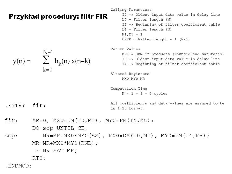 Przykład procedury: filtr FIR