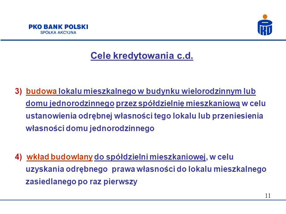 Cele kredytowania c.d.