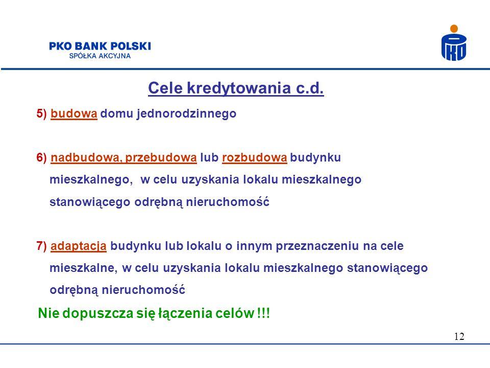 Cele kredytowania c.d. Nie dopuszcza się łączenia celów !!!