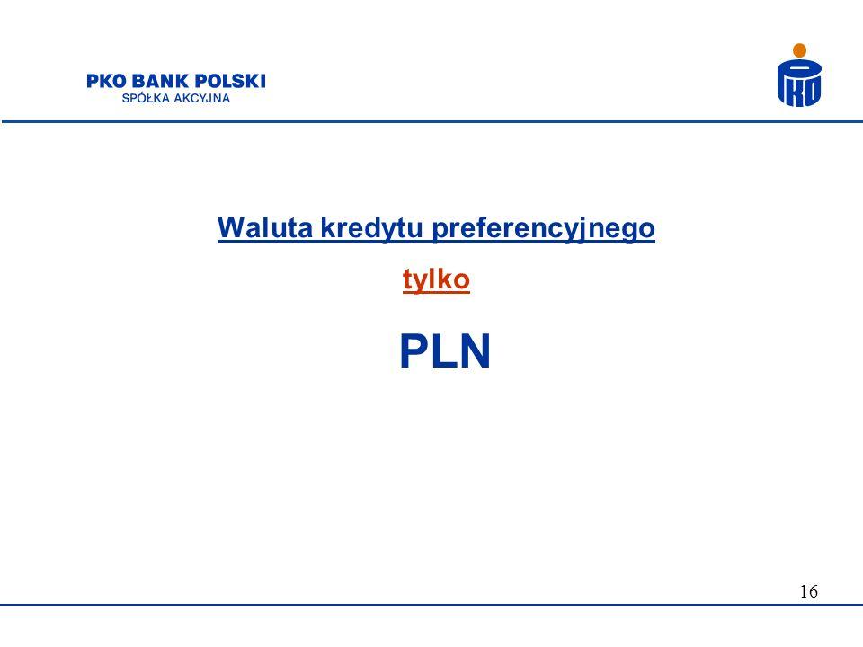 Waluta kredytu preferencyjnego