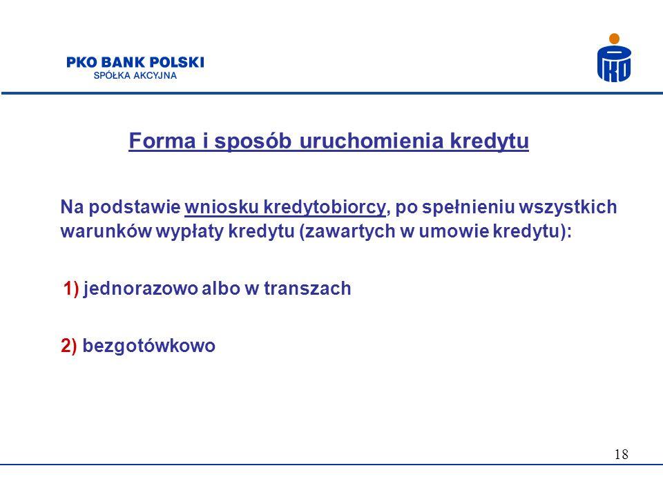 Forma i sposób uruchomienia kredytu