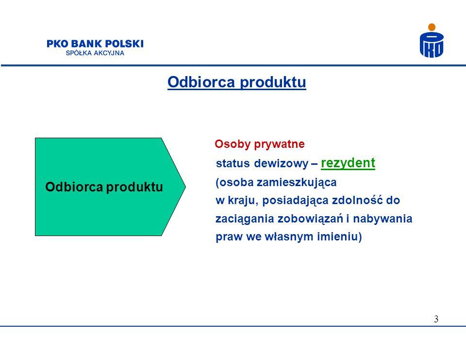 Odbiorca produktu Odbiorca produktu status dewizowy – rezydent