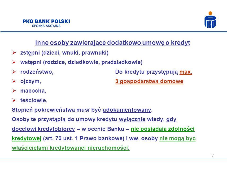 Inne osoby zawierające dodatkowo umowę o kredyt