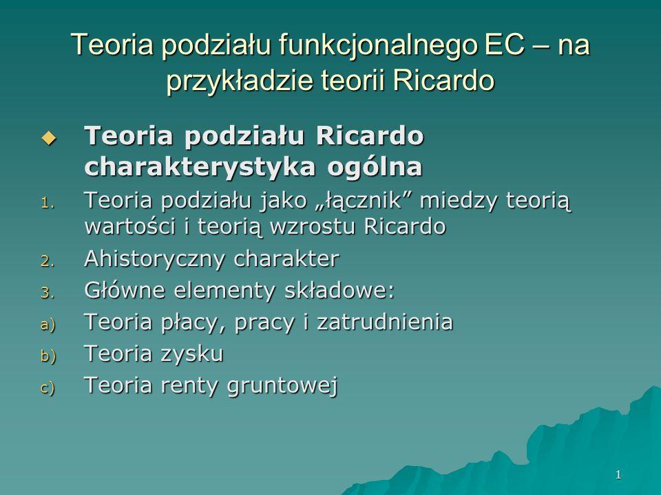 Teoria podziału funkcjonalnego EC – na przykładzie teorii Ricardo