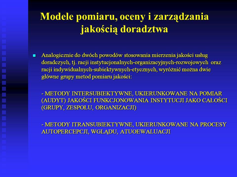 Modele pomiaru, oceny i zarządzania jakością doradztwa
