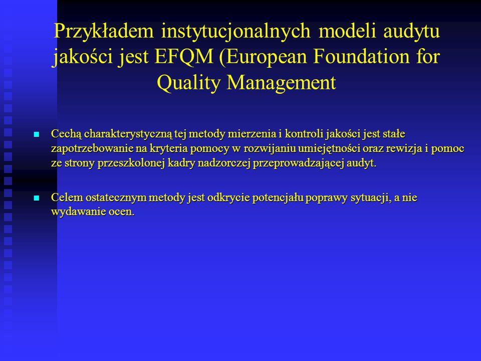 Przykładem instytucjonalnych modeli audytu jakości jest EFQM (European Foundation for Quality Management
