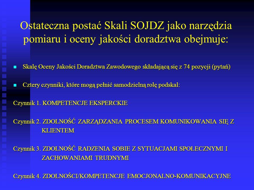 Ostateczna postać Skali SOJDZ jako narzędzia pomiaru i oceny jakości doradztwa obejmuje: