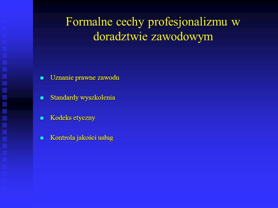 Formalne cechy profesjonalizmu w doradztwie zawodowym