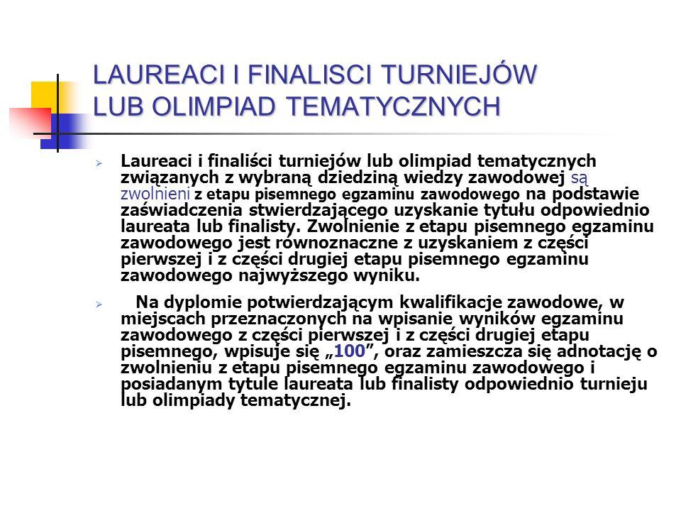 LAUREACI I FINALISCI TURNIEJÓW LUB OLIMPIAD TEMATYCZNYCH