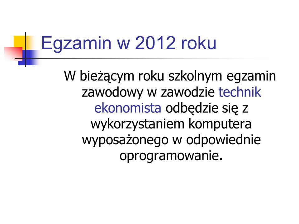 Egzamin w 2012 roku