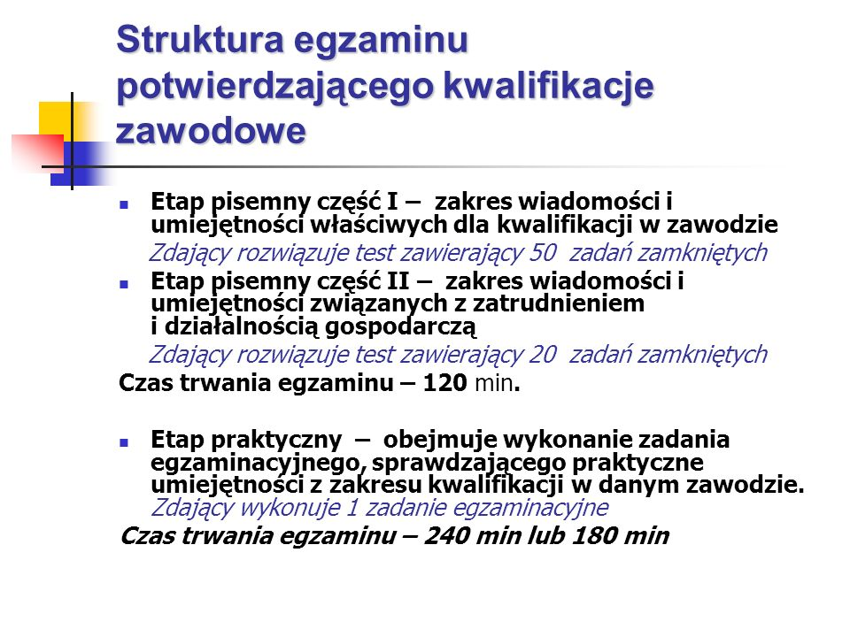 Struktura egzaminu potwierdzającego kwalifikacje zawodowe