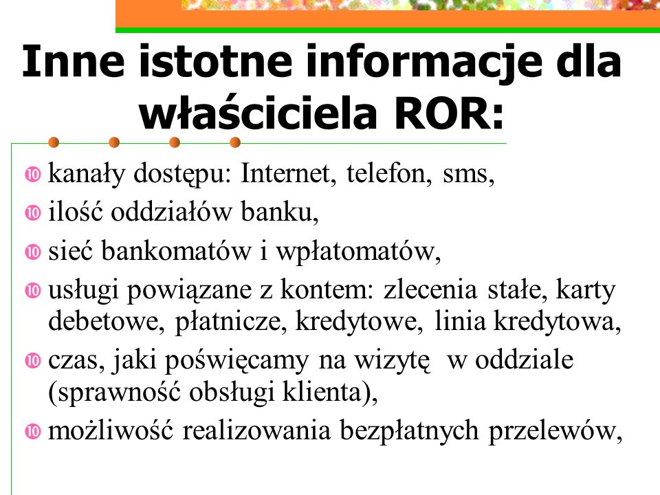 Inne istotne informacje dla właściciela ROR: