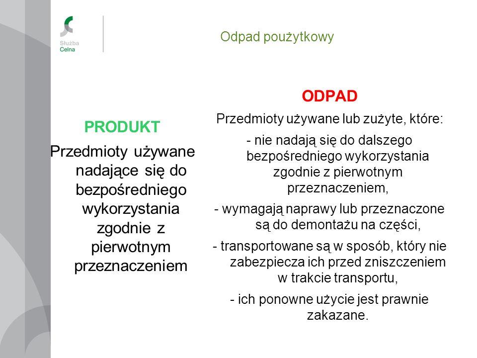 Odpad poużytkowy PRODUKT. Przedmioty używane nadające się do bezpośredniego wykorzystania zgodnie z pierwotnym przeznaczeniem.