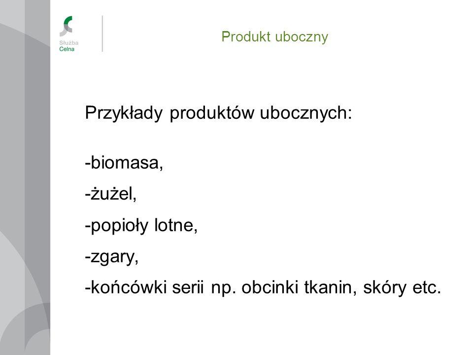 Przykłady produktów ubocznych: -biomasa, -żużel, -popioły lotne,