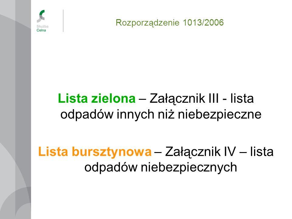 Lista zielona – Załącznik III - lista odpadów innych niż niebezpieczne