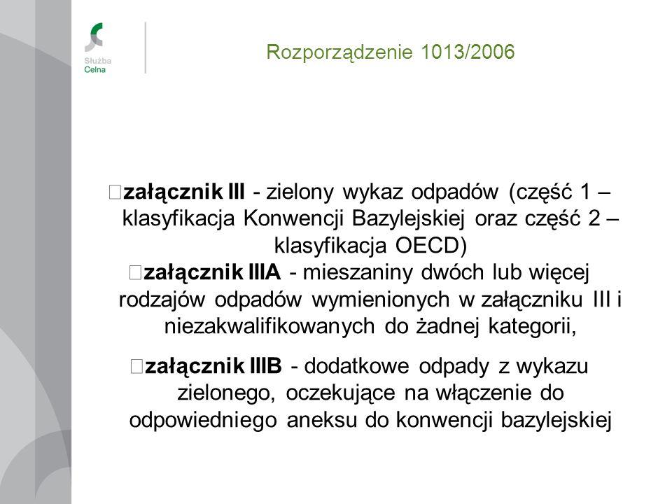 Rozporządzenie 1013/2006 załącznik III - zielony wykaz odpadów (część 1 – klasyfikacja Konwencji Bazylejskiej oraz część 2 – klasyfikacja OECD)