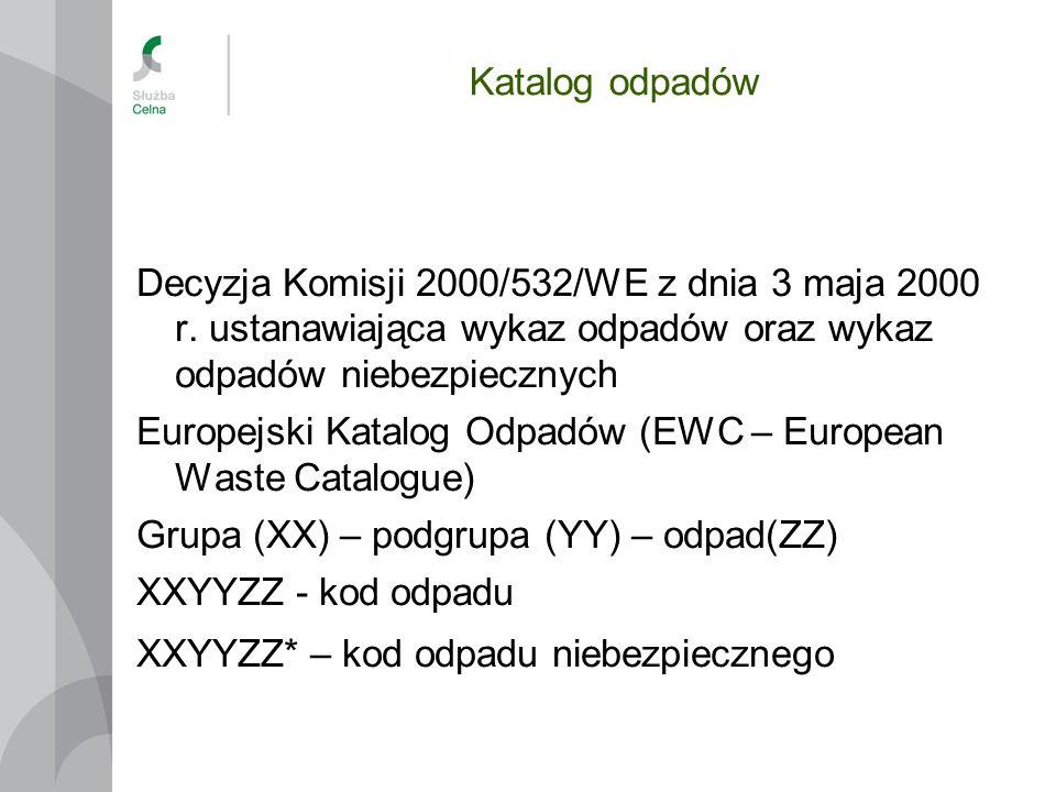 Katalog odpadów Decyzja Komisji 2000/532/WE z dnia 3 maja 2000 r. ustanawiająca wykaz odpadów oraz wykaz odpadów niebezpiecznych.