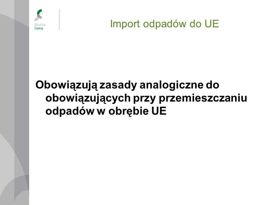 Import odpadów do UE Obowiązują zasady analogiczne do obowiązujących przy przemieszczaniu odpadów w obrębie UE.