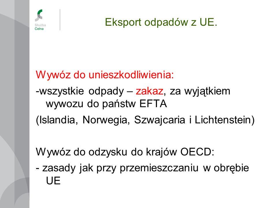 Eksport odpadów z UE. Wywóz do unieszkodliwienia: -wszystkie odpady – zakaz, za wyjątkiem wywozu do państw EFTA.