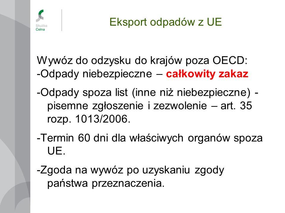 Eksport odpadów z UE Wywóz do odzysku do krajów poza OECD: -Odpady niebezpieczne – całkowity zakaz.