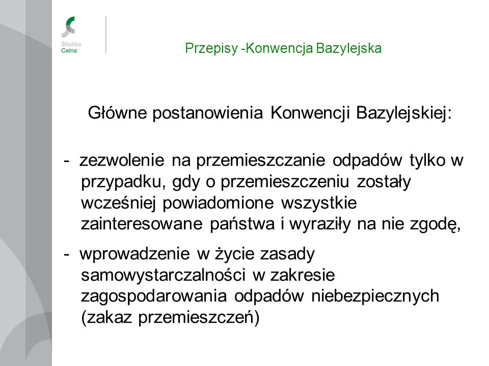 Przepisy -Konwencja Bazylejska