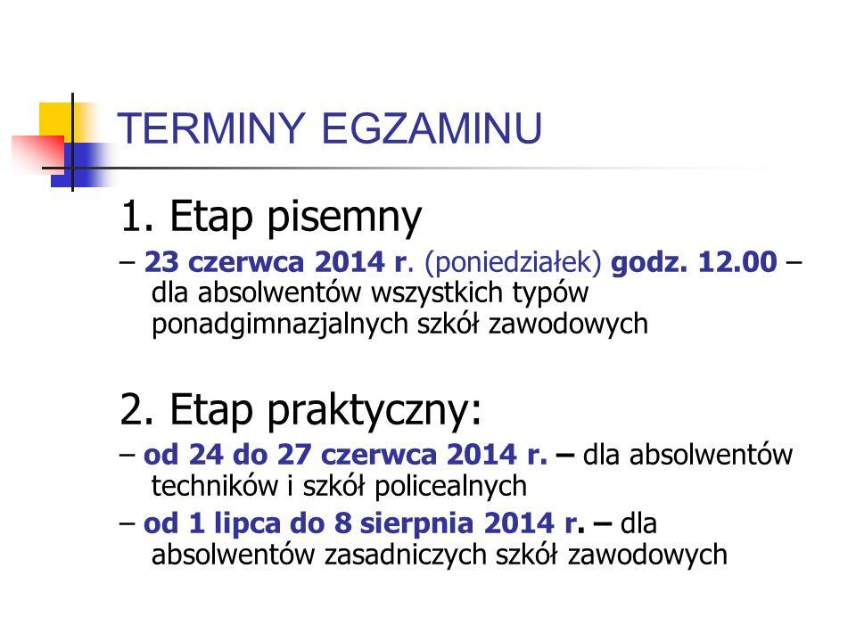 TERMINY EGZAMINU 1. Etap pisemny 2. Etap praktyczny: