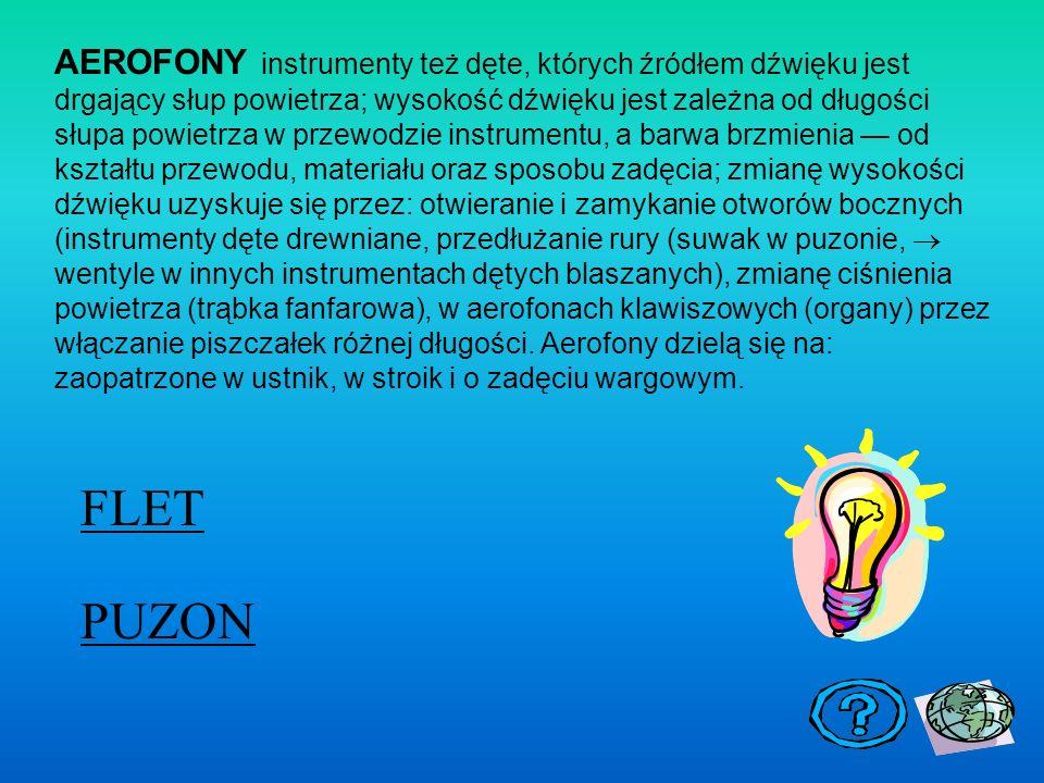 AEROFONY instrumenty też dęte, których źródłem dźwięku jest drgający słup powietrza; wysokość dźwięku jest zależna od długości słupa powietrza w przewodzie instrumentu, a barwa brzmienia — od kształtu przewodu, materiału oraz sposobu zadęcia; zmianę wysokości dźwięku uzyskuje się przez: otwieranie i zamykanie otworów bocznych (instrumenty dęte drewniane, przedłużanie rury (suwak w puzonie, ® wentyle w innych instrumentach dętych blaszanych), zmianę ciśnienia powietrza (trąbka fanfarowa), w aerofonach klawiszowych (organy) przez włączanie piszczałek różnej długości. Aerofony dzielą się na: zaopatrzone w ustnik, w stroik i o zadęciu wargowym.