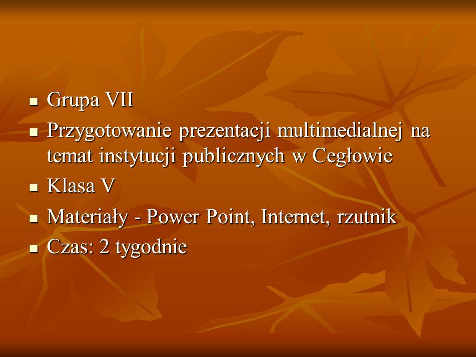 Grupa VII Przygotowanie prezentacji multimedialnej na temat instytucji publicznych w Cegłowie. Klasa V.