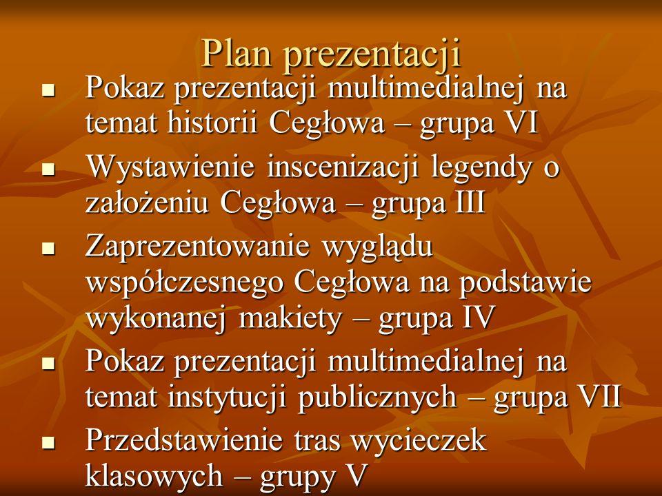 Plan prezentacji Pokaz prezentacji multimedialnej na temat historii Cegłowa – grupa VI.