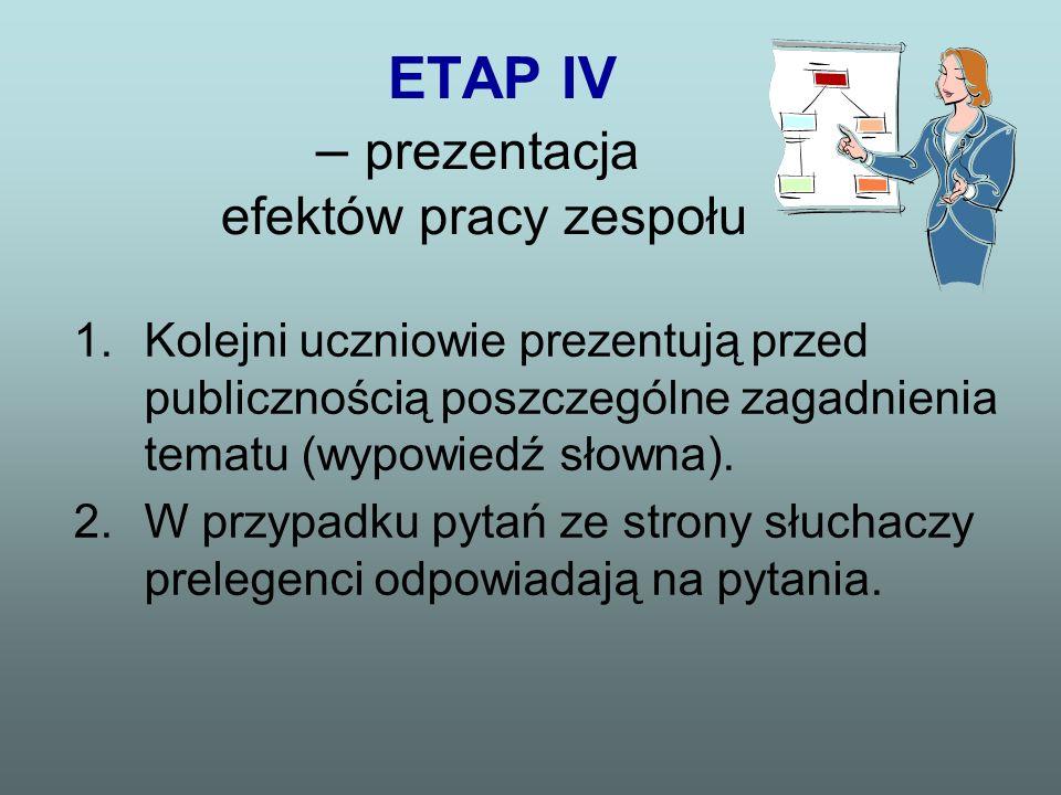 ETAP IV – prezentacja efektów pracy zespołu