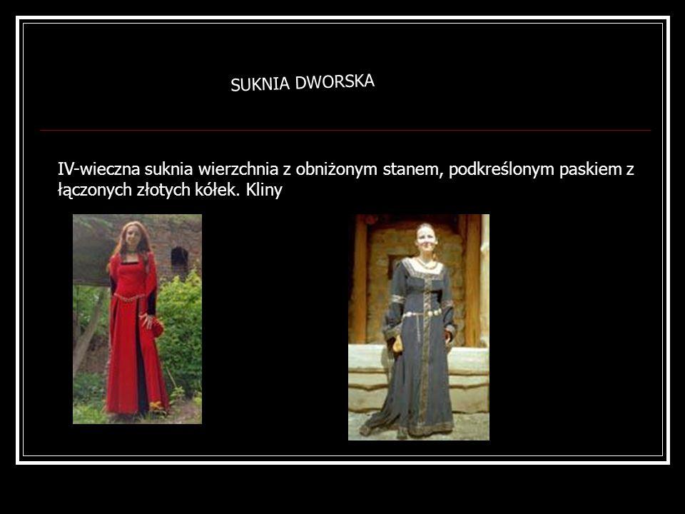 SUKNIA DWORSKAIV-wieczna suknia wierzchnia z obniżonym stanem, podkreślonym paskiem z łączonych złotych kółek.