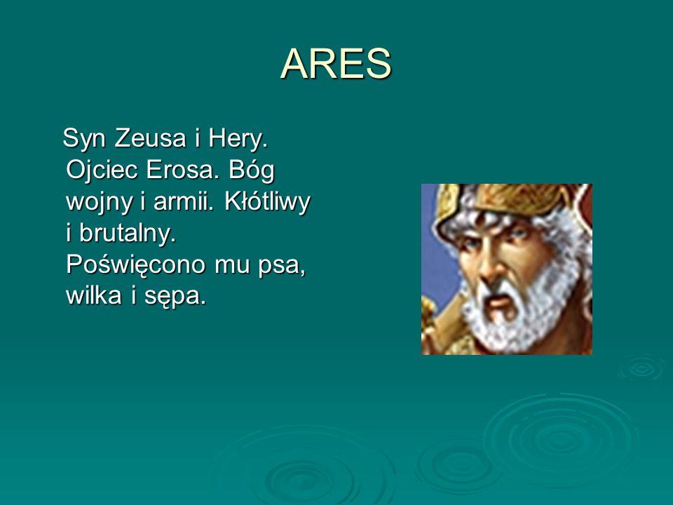 ARES Syn Zeusa i Hery. Ojciec Erosa. Bóg wojny i armii.