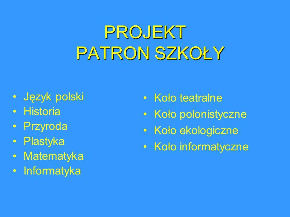 PROJEKT PATRON SZKOŁY Język polski Historia Przyroda Plastyka