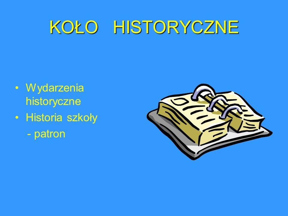 KOŁO HISTORYCZNE Wydarzenia historyczne Historia szkoły - patron