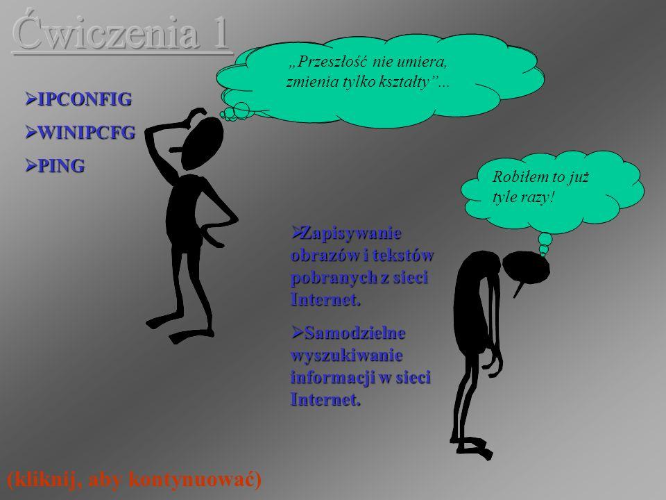 Ćwiczenia 1 (kliknij, aby kontynuować) IPCONFIG WINIPCFG PING