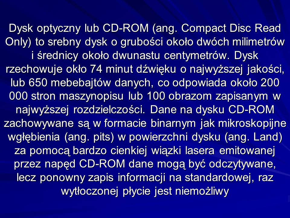 Dysk optyczny lub CD-ROM (ang